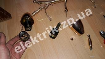 Ремонт люстры, замена патронов на новые